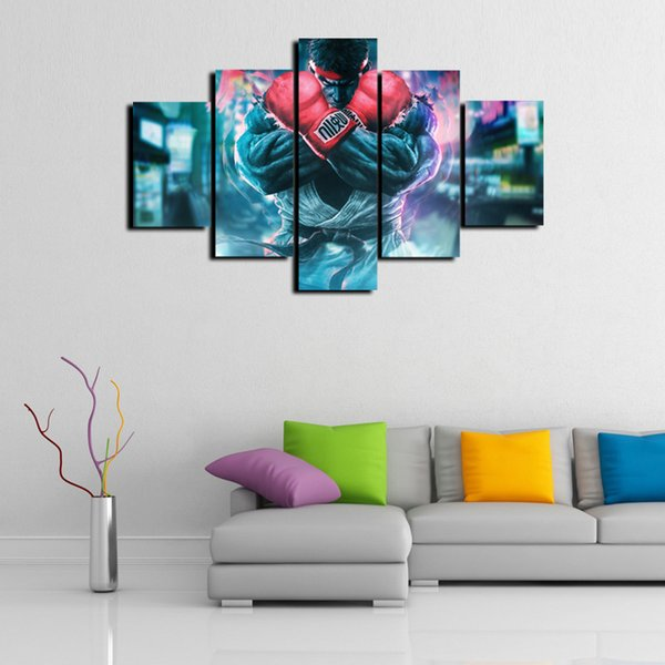 5 Panels,street fighter Modern Abstract Canvas Oil Painting Print Wall Art Decor for Living Room Home Decoration(Unframed/Framed)