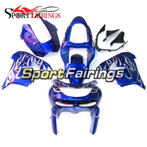 Blue White Flames Full Fairings For Kawasaki ZX9R 1998-1999 98-99 ABS Plastic Motorcycle Bodywork Body Kit Cowlings Body Kit Body Frames
