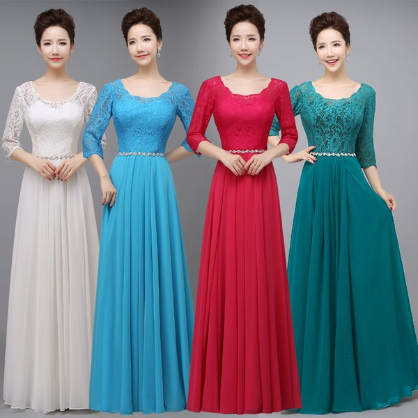 Scoop Neck Lace Chiffon Bridesmaid Dress Floor Length 2016 Crystal Waist Party Gowns Elegant Drop Shipping