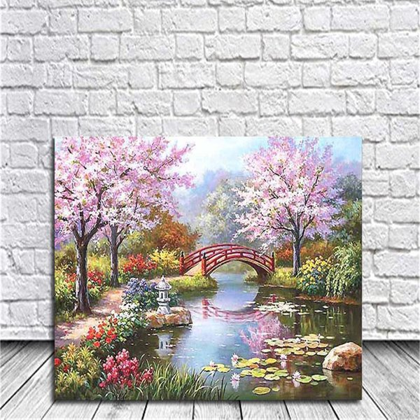 Framed On Canvas Diy Digital Oil Painting By Numbers Wall Jiangnan Spring Color Painting Acrylic Painting Hand Painted Home Decor For Living