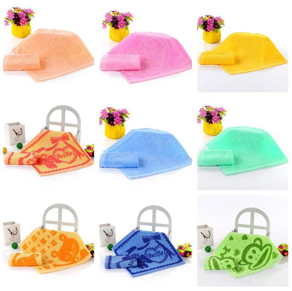 Hot sale Cotton kitchen wash towel children kindergarten baby saliva towel plain small square CC009 Cleaning Cloths mix order as your needs