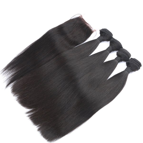4Pcs Peruvian Straight Hair With Closure Unprocessed Human Hair 4 Bundles With Closure Peruvian Hair Weaves With Lace Top Closures