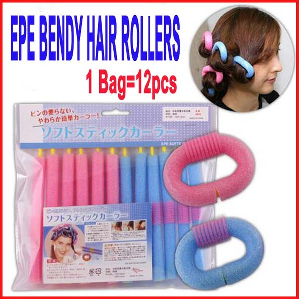 top popular SOFT ANION EPE BENDY HAIR ROLLERS STYLING FOAM CURLERS SALON HAIR DO DIY Self-adhesive Magic EPE Foam Hair Roll Stick 12pcs lot 2019