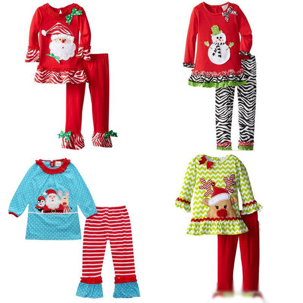 2017 New Christmas Girls Santa Claus Outfits Pleated Hem Dresses Stripes Pants Baby Girl 2 Pieces Clothing Sets Xmas Pajamas