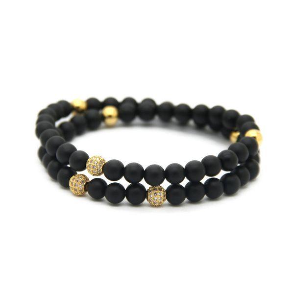 6mm Black Matte Agate Stone Beads Bracelet with Micro Pave Cubic Zirconia Ball High Grade Fashion Jewelry Bracelet Men