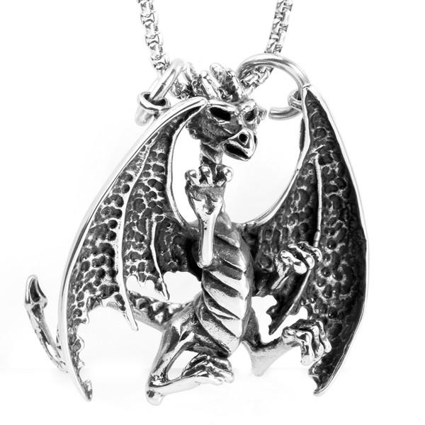 Colgante del estilo del dragón volador de la llama dominante de la moda punky del acero inoxidable de los hombres para el collar Avivahc 58