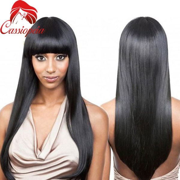 Peruvian Remy Hair Silky Straight Full Lace Human Hair Wigs Glueless Long Lace Front Wig With Bangs Natural Black 8A Grade 130%Density