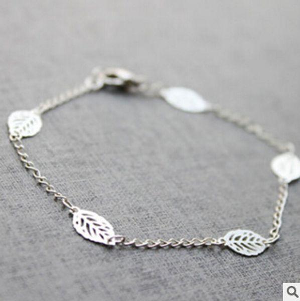 All'ingrosso-SL 037 2016 Semplice braccialetto moda argento cava lascia bracciale catena in lega Accessori donna