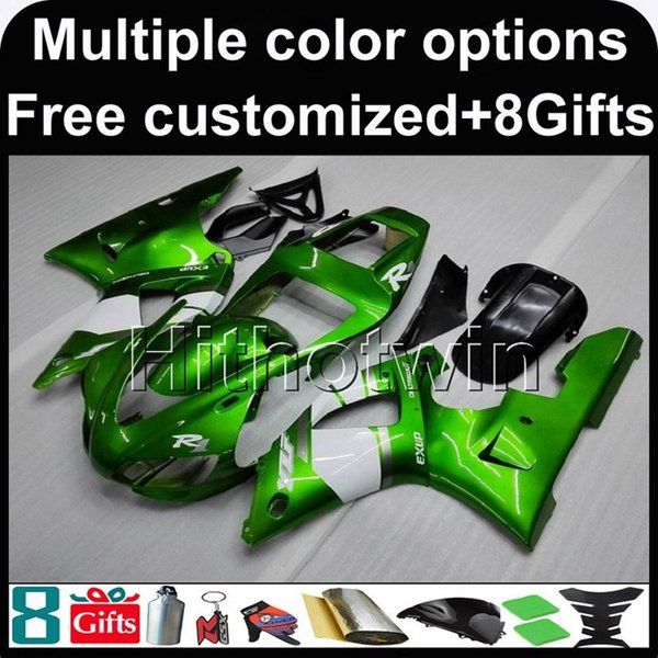 23colors+Gifts green motorcycle cover for Yamaha YZF-R1 1998-1999 98 99 ABS Plastic Fairing