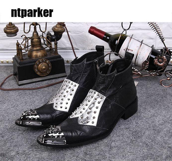 2019 Man Boots Japanese Style Rock Black Man Boots Pointed Steel Toe Genuine Leather Boots Shoes Man! Big Sizes 38-46