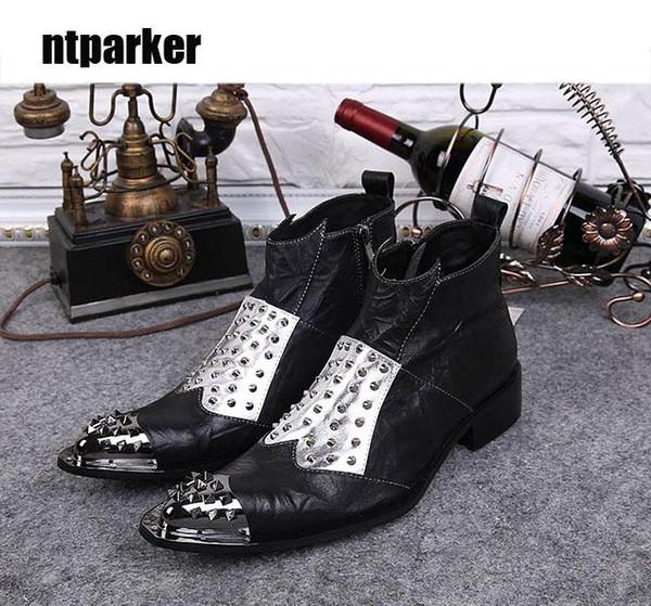 Botas de hombre 2019 Botas de hombre negro de roca de estilo japonés Punta de acero puntiaguda Botas de cuero genuino Zapatos Hombre Tallas grandes 38-46