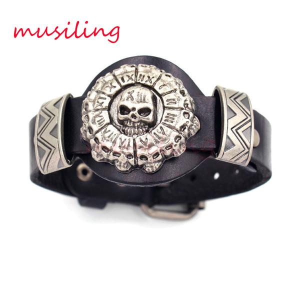 Skull Leather Bracelets Bangles Jewelry Punk Rock Hip hop Bracelet For Men Watchband Design Accessories Adjustable Mens Jewelry