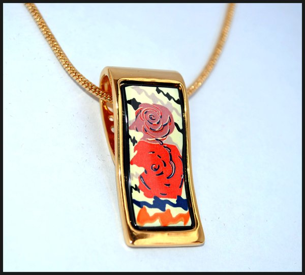 "Rose Series Necklaces18K gold-plated enamel necklaces for women Top quality ""S"" shape pendant necklaces colar women necklace"