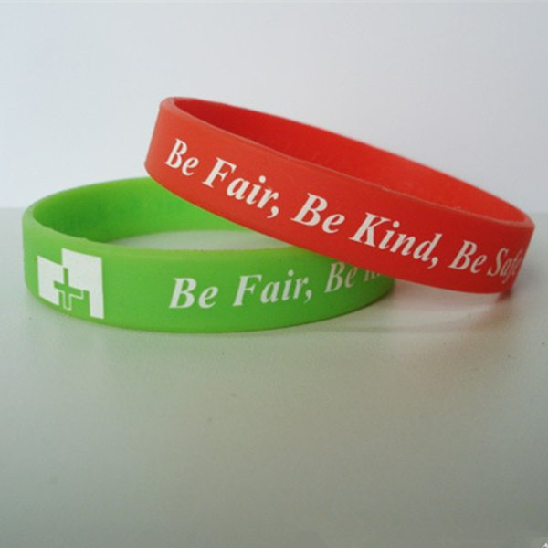 "best selling Silk Screen Printing Silicone Bracelets Custom Jelly Promotional Bracelet Cheap 0.5""*8"" With Factory Price"