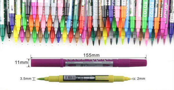 best selling Brush Double color cartoon pen Marker watercolors Sketch Hand-painted pen Soft Super Brush Broad Twin Tip Manga Ciao
