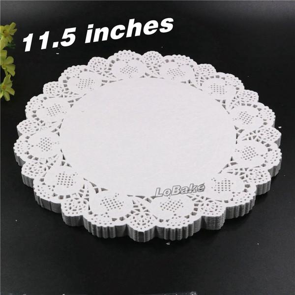 Wholesale- (160pcs/pack) New 11.5 inches round flower shape white hollow design paper lace doilies placemat for kitchen set de table