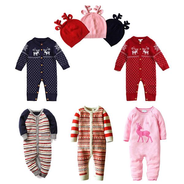 Neugeborenen Winter Baby Strampler Langarm Oansatz Weihnachten Pullover Strick Jumpsuits Hüte Hirsch Tier Santa Herbst 0-22 Monate