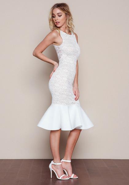 top popular Women's fashion sexy summer new hip sweet Fishtail flounced lace sleeveless vest skirt evening party wedding slim sexy dress 2021
