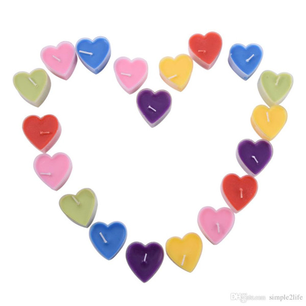 9pc/lot Creative Romantic Heart-Shape Birthday Candle Cake/Cupcake Toppers Party Scented Candles Wedding Party Supplies 6 Colors