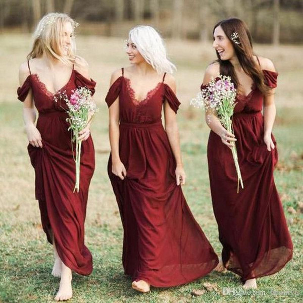 Burgundy Cheap Country Bridesmaid Dresses Sexy Spaghetti Straps Long Bohemian Wedding Party Gowns Summer Maid Of Honor Long Prom Dress Robes