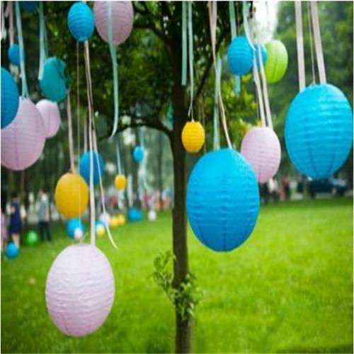 top popular Hot Sell Chinese Paper Lantern Wedding Party Christmas DIY Decoration Assorted 8-14inch with 9 colors Round Lanterns ZWZ*5 2019