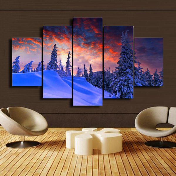 5 Pcs/Set Snow mountain scenery HD Picture Modern Home Wall Decor Canvas Print Painting For House Decorate DH014