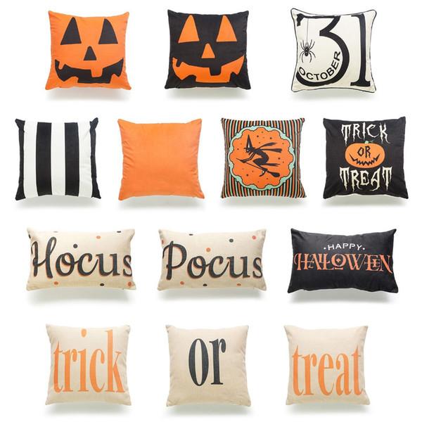 Pillow Case Halloween Cotton Linen Pumpkin Trick Or Treat Throw Pillow Cover Car Sofa Cushion Cover Home Party Decorative Pillowcase