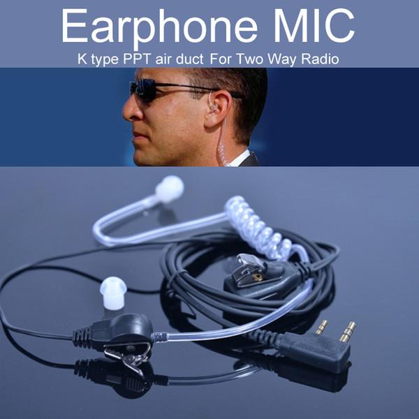 Kenwood K Tipo Walkie Talkie Accessori EarPhone Mic per UV-5R Air Acoustic Tube 2 Pin PPT Auricolare Headset Throat Mic Microfono