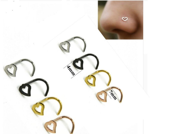 2017 New Trendy Lover Heart Nose Rings Body Piercing Jewelry bending Shape Nose Ring Fashion Jewelry Stainless Steel Nose Open Hoop Ring