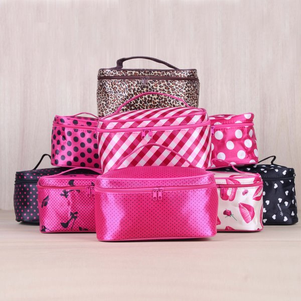Portable Handle Round Dot Large Cosmetic Bag Travel Makeup Organizer Case Holder With Mirror business trip toiletry bag