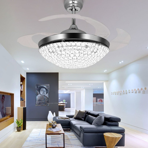 top popular Crystal LED Ceiling Fans Light 42 Inch Mordern Fan Chandelier Ceiling Light with Remote Control for Indoor Living Dining Room Bedroom House 2021