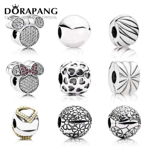 DORAPANG 100% 925 Sterling Silver Fixed buckle Safety clip charm bead collocation Bracelet DIY bangle factory wholesale