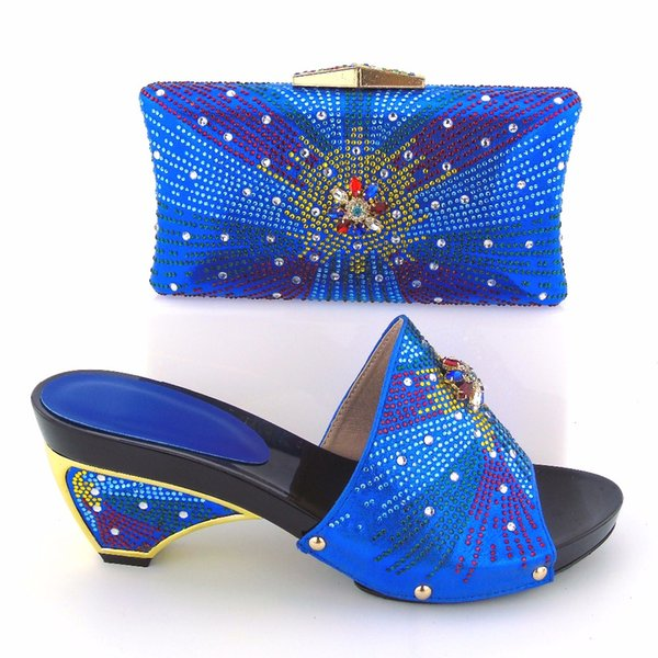 vivilace Royal Blue High Quality African Ladies High Heel With Bag Set Wonderful Rhinestone Sandals High Heels Shoes For Wedding