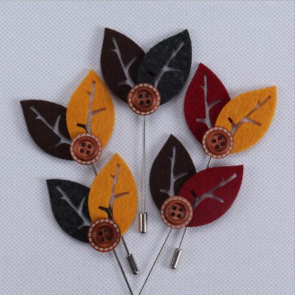 Yeni moda çiçek yaka pin takım yaka çiceği kumaş iplik pin 5 renk düğmesi çiçek broşlar futaba uzun kazak yaka pin