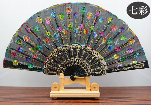top popular Handmade peacock Embroidery Fabric folding fan silk top grade bridal fans Bridesmaid fans hollow bamboo handle wedding accessories Fold fans 2020