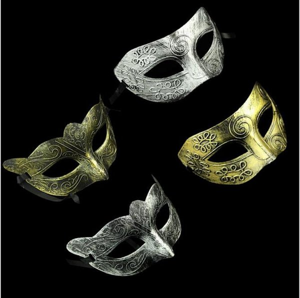 Costume party men and lady face mask Greco-Roman Gladiator masquerade masks Vintage Golden/Silver Mask silver Carnival Mask Halloween masks