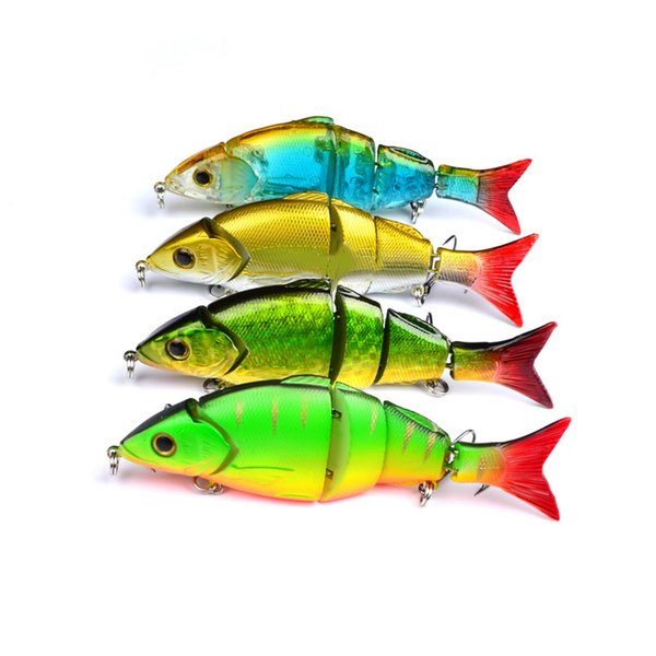 DHL shipping 4 Color 12.8cm 22g Multi Jointed Bass Plastic Fishing Lures Swimbait Sink Hooks Tackle high quality fishing lures
