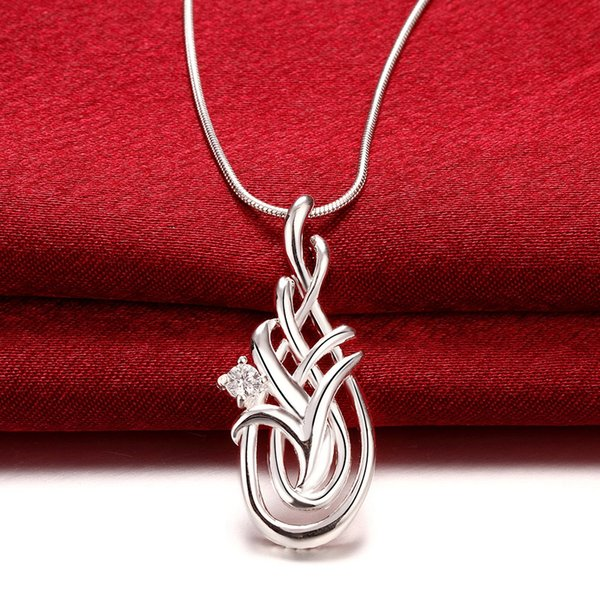 Beautiful 925 Sterling Silver Necklace Crystal Hollow Plant Flower Pendant with Smooth Chain Necklace Good Jewelry gift for Women N781