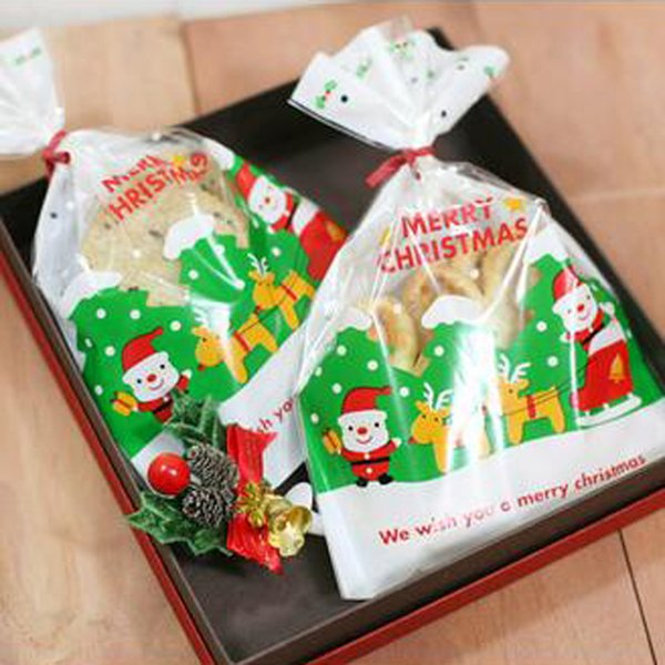 Christmas Cake Cookie Bag Eco-friendly Package Gingersnap New Year Kitchen (100 pcs) Bakery Roast Packing Packaging Bags