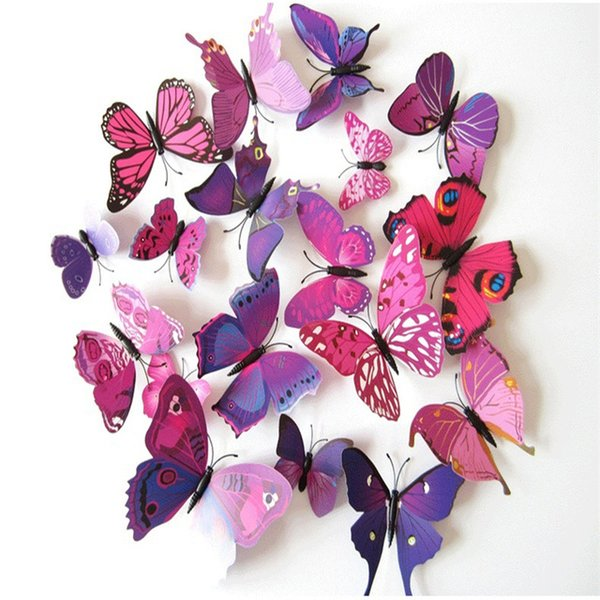 12pcs / Lot 3D Art Butterfly Decal Wall Sticker Home Decor Decorazione della stanza