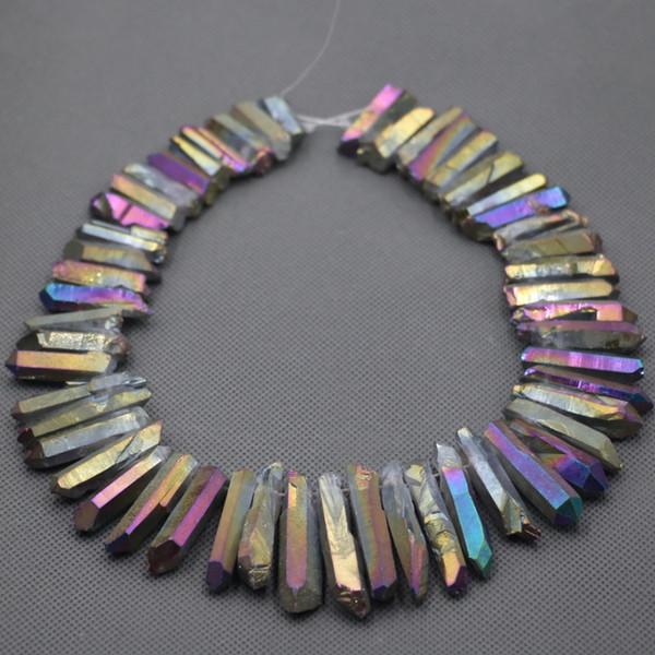 Oro natural AB Puntos de cuarzo Perlas En bruto Cristal de roca cruda Cuarzo Puntos de palo Perlas Encanto Colgante Collar de cristales de curación perforados