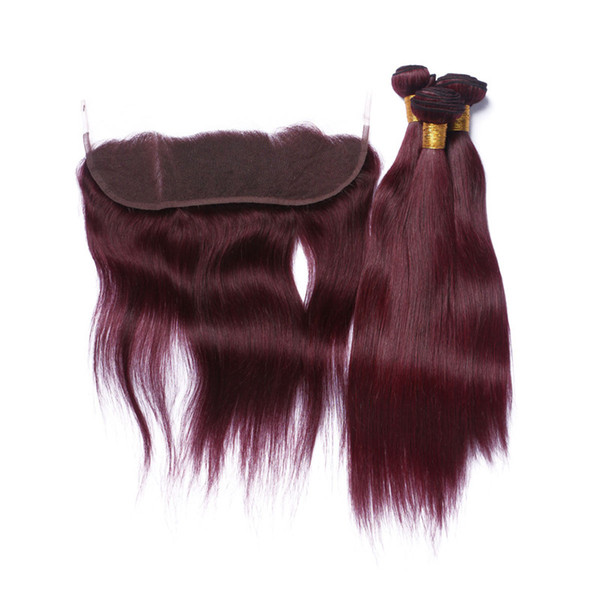 Straight #99J Wine Red Brazilian Human Hair Weaves with Lace Frontal 4Pcs Lot Burgundy 3Bundles with 13x4 Full Lace Frontal Closure