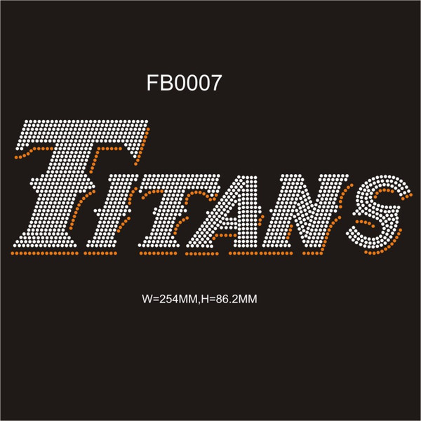 2017 shiny Titans hot fix RHinestone transfer designs custom DIY for your t-shirt 30pcs each bag