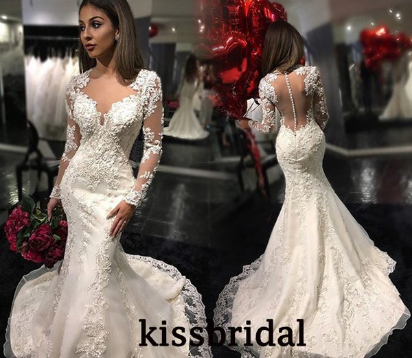 2016 Retro Lace Mermaid Wedding Dresses Illusion V Neck Long Sleeves Sheer Back Pearls Beaded Lace Embroidered Court Train Bridal Gowns