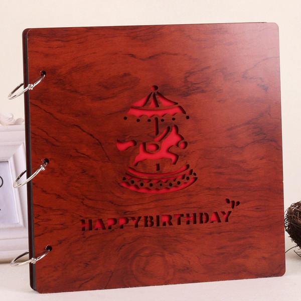 Album fotografico creativo fai da te Souvenir 16 pollici rosso legno amore Torre Eiffel Whale Fandelion Lucky Clover Multi Pattern 12 77sc F R