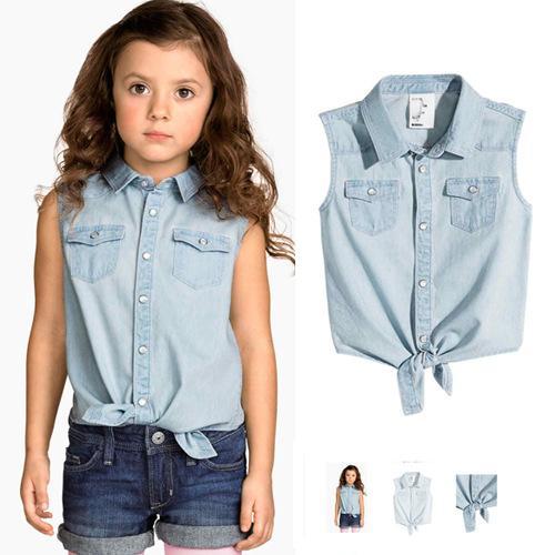 huge selection of 630cb ea8bd Acquista Abbigliamento Bambini Camicia Di Jeans Di Cotone Camicie Senza  Maniche Casual Camicie Western Bambini Abbigliamento Camicie Bambini Slim  Fit ...