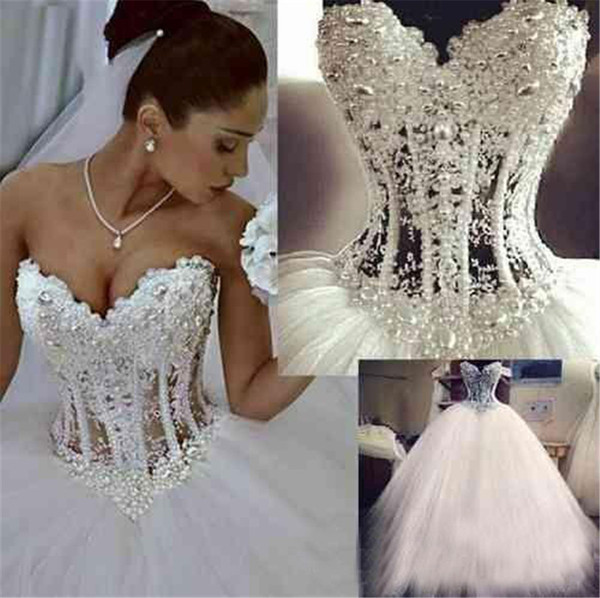 Sweetheart Corset See Through Floor Length Princess Bridal Gowns Beaded Lace Pearls Custom Made Ball Gown Wedding Dresses