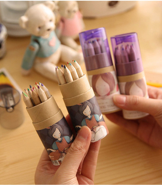 Free Shipping/ New cute12 pcs/box Wooden colored Pencil / with Kraft paper box and Pencil sharpener / Wholesale