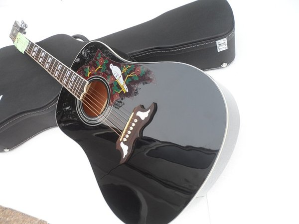 """Wholesale Custom High Quality 41"""" Black Dove Spruce Top Rosewood Fretboard Acoustic Guitar China Guitar Free Shipping"""