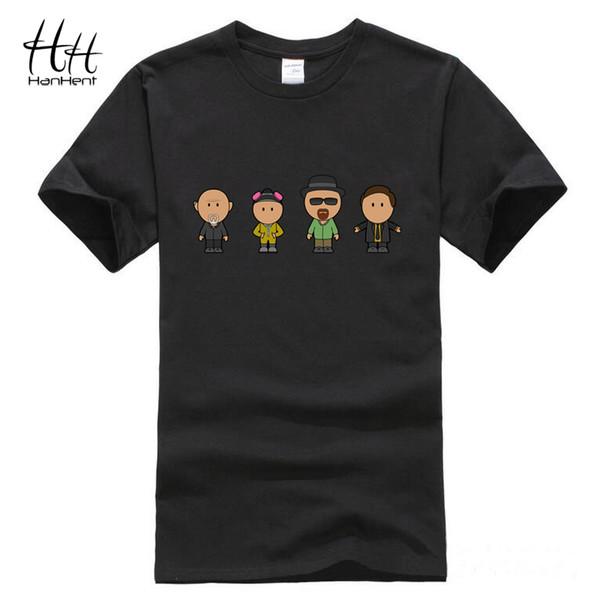 Großhandels-HanHent, das schlechtes Art- und Weiset-shirt zufälliges kurzes Hülse Heisenberg Baumwollt-shirt schwarzes lose lustige Liebhaber-Paar-T-Shirts bricht